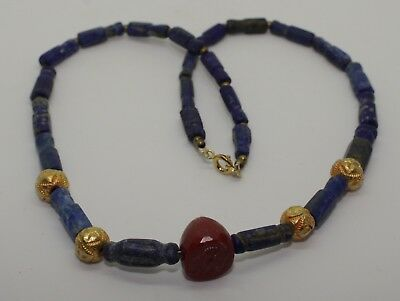 Ancient Seal & Lapis Bead Necklace - Circa 2Nd Century Ad -  04