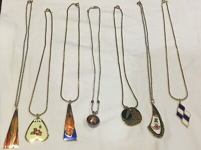 Jewelry Lot Vintage Necklaces  enameled Pendants Chains Gold+Silver Tones Nice!