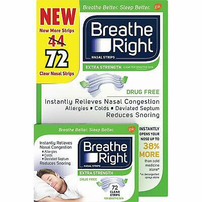 Breathe Right Extra Strength Nasal Strips 72Ct CLEAR FREE SHIPPING