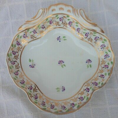 Very Nice Mid 19th Century Crown Derby Floral Decorated Shrimp Dish