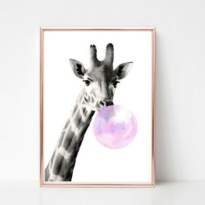 Giraffe print PICTURE Bubble gum  WALL ART A4  unframed 501 black white