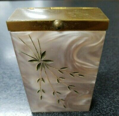BEAUTIFUL BRASS / ACRYLIC CIGARETTE Hard Case with Flip Top Collectible