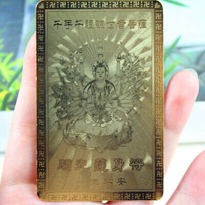 3pcs Feng Shui Buddha Good Luck/Amulet Card For Protection Guanyin Gold Buddhism