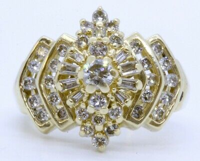 14K Solid Yellow Gold Channel Set Round & Baguette Diamond Cocktail Ring sz 7.5