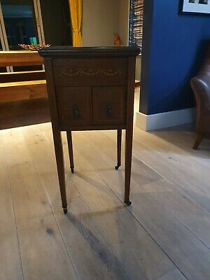 Stunning Antique Solid Wood Sewing Craft Box Side Table Beautiful Casters Inlaid