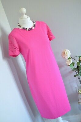 LIMITED COLLECTION Marks & Spencer M&S hot pink lace sleeve dress 14