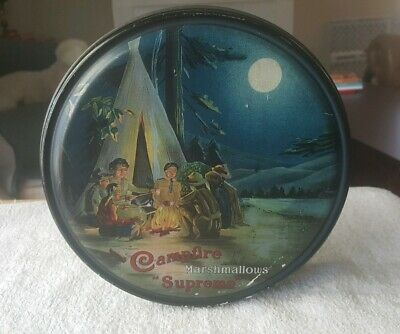 Early 1900s CAMPFIRE MARSHMALLOWS tin -  BOY SCOUT CAMPING SCENE beautiful color