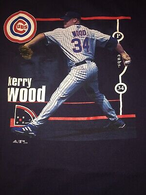 Vintage CHICAGO CUBS 34 KERRY WOOD XL T-SHIRT 2003 Adidas