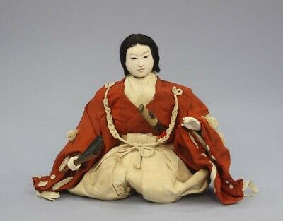 Japanese Antique Gofun Doll Handsome Young Samurai Meiji Period 9""
