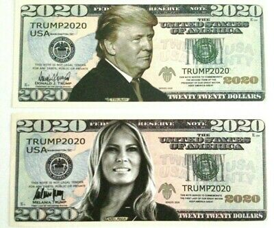 1 Donald Trump & 1 Melania Trump 2020 Re-Election Dollar Bills.