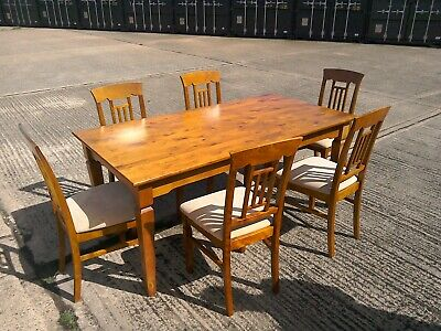 Solid Wood - Antique Pine Finish -  Large Extendable Dining Table & six chairs