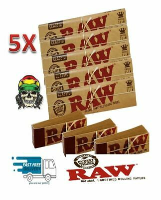 5X  RAW  CLASSIC Rolling  Papers King Size Slim 110mm with Roach Filter Tips Riz