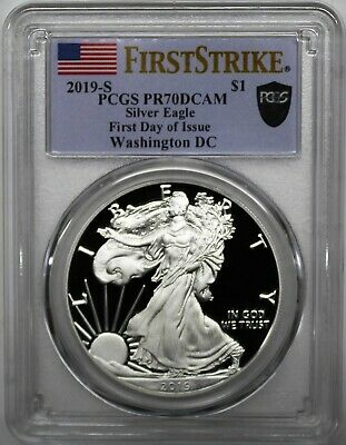 2019 S $1 Proof Silver Eagle PCGS PR70 DCAM First Day of Issue Washington D.C.