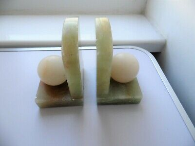 Vintage Pair Of Art Deco Green & White Solid Onyx Golf Ball Design Bookends