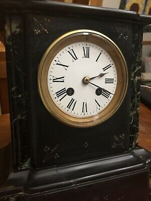 ANTIQUE FRENCH / JAPY FRERES BLACK SLATE  MARBLE MANTLE CLOCK Runs!