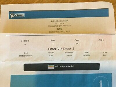 1 x Kiss Ticket Sydney Tuesday 26th November 2019 Reserve seat section 3.