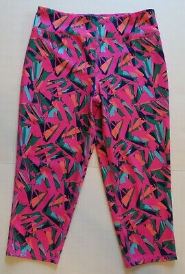 MTA Sport Leggings Girls Bright Colors Geo Pattern Wide Waistband Size L 10/12