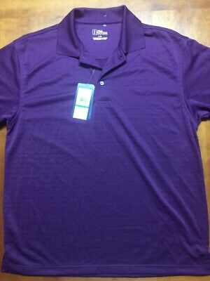 NWT Mens Purple PGA Tour Polo Style Golf Dry Shirt Large $45 Textured Striped