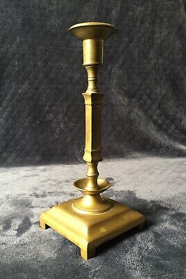 19th Century Antique Russian Brass Heavy Square Base Footed Candleholder