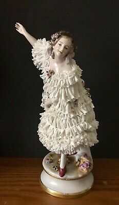 Antique German Dresden Volkstedt Lace Porcelain Figurine Of Ballerina Rare