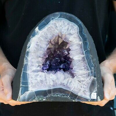 """Cathedral Amethyst Geode Crystal Quartz Large 10"""" Purple White Polished, 32 LBS!"""