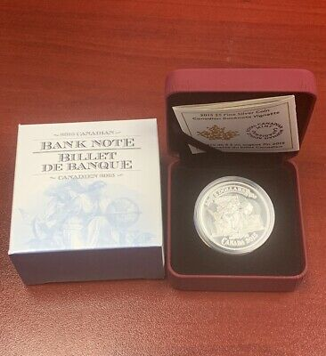 2015 $5 Fine Silver Coin Canadian Banknote Vignette Royal Canadian Mint