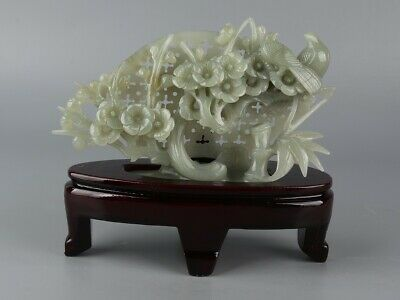 Chinese Exquisite Hand-carved flower bird Carving Hetian jade statue
