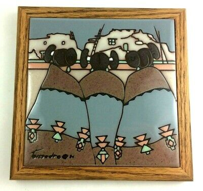 Cleo Teissedre Zuni Sisters Hand Painted Ceramic Tile Wood Framed VTG Art 7.5""