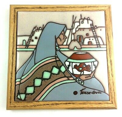 Cleo Teissedre Wise Woman Hand Painted Ceramic Tile Wood Framed VTG Art 7.5""
