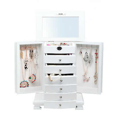 White Large Wooden Jewellery Cabinet Necklace Ring Organiser 7 Layer Storage Box