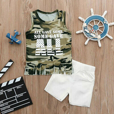 US Toddler Kid Baby Boys Camouflage Vest Top+ Short Pants Clothes Summer Outfit