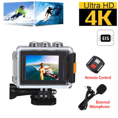 4K WiFi EIS 1080P@30fps Sport Action Camera DVR Waterproof +Mic+Remote Control
