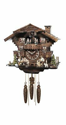 Cuckoo Clock Black forest house with music and dancers  EN 49016 MT NEW