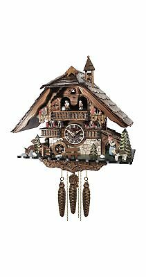 Cuckoo Clock Black forest house with music and dancers  EN 48114 MT NEW
