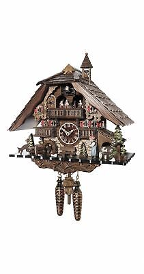 Quartz Cuckoo Clock Black forest house with music and dancers.. EN 48114 QMT NEW
