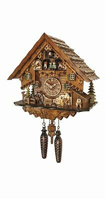 Quartz Cuckoo Clock Black forest house with music and dancers EN 4681 QMT NEW