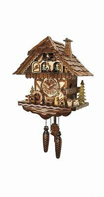 Quartz Cuckoo Clock Black forest house with music and dancers EN 4671 QMT NEW