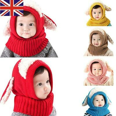 UK Baby Toddler Girl Boy Warm Hat Winter Beanie Hooded Scarf Earflap Knitted Cap