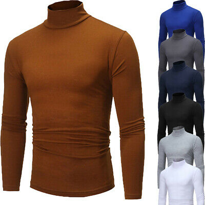 AU Mens Thermal Cotton Turtle Roll Neck Skivvy Turtleneck Sweater Stretch Shirt