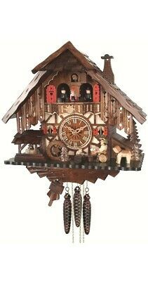Quartz Cuckoo Clock Black Forest house with moving beer drinker.. EN 487 QMT NEW