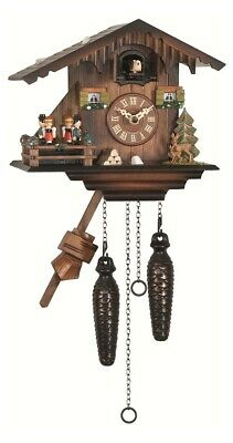 Quartz Cuckoo Clock Swiss house with music, turning dancers EN 424 QMT NEW
