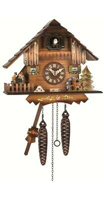 Quartz Cuckoo Clock Black forest house with music, turning danc.. EN 423 QMT NEW
