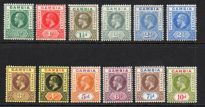 Gambia Part Set of Stamps c1912-22 Mounted Mint (11)