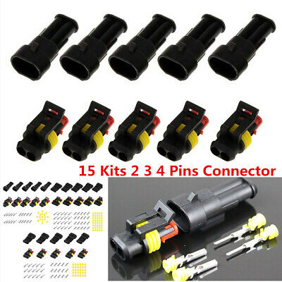 15 Kits 2 3 4 Pins Way Car Sealed Waterproof IP68 Electrical Wire Connector Plug