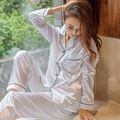 Womens Ladies Satin Pyjama Set Silky Autumn Lounge Wear Pajamas Long Sleeve Gown