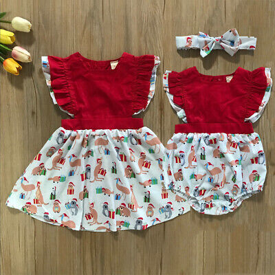 AU Sister Match Christmas Clothes Kids Baby Girl Cartoon Romper Dress Outfit Set