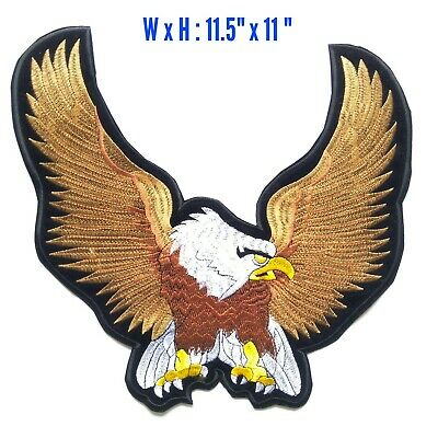 "LARGE 11.5"" Brown Upwing Eagle Harley Davidson MC Club Iron On Vest Jacket Patch"
