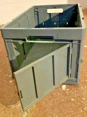 10 Stacking Extra Strong Plastic Folding Crates With Door