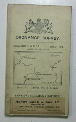 1912 Old OS Ordnance Survey One-Inch Third Edition Map 124 Winchester & Alton
