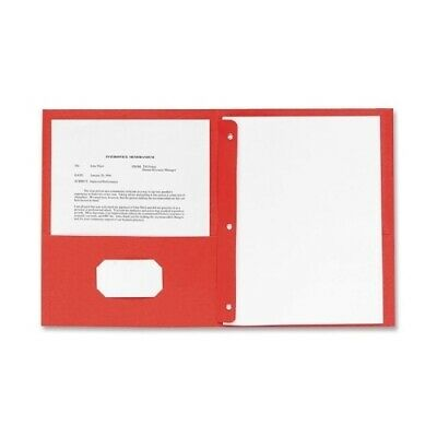 """Embossed Paper 2 Pocket Folder with Prongs - Red - 8.5"""" x 11"""" - CASE OF 2"""